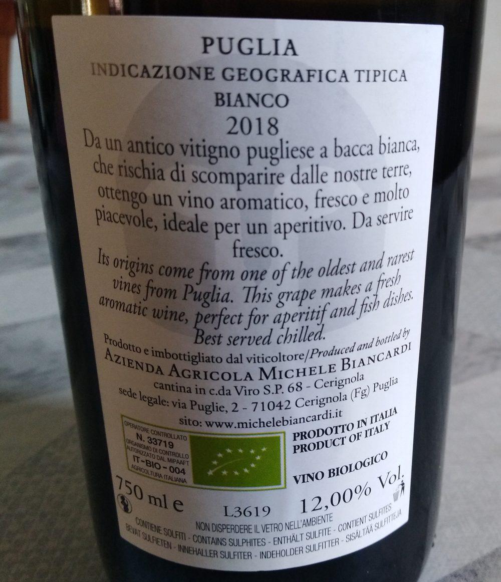 Controetichetta L'Insolito Bianco Puglia Igt 2018 Michele Biancardi