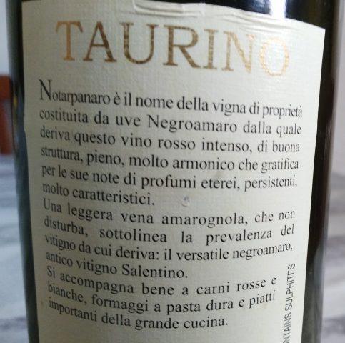 Controetichetta Notarpanaro Salento Rosso Igp 2004 Taurino