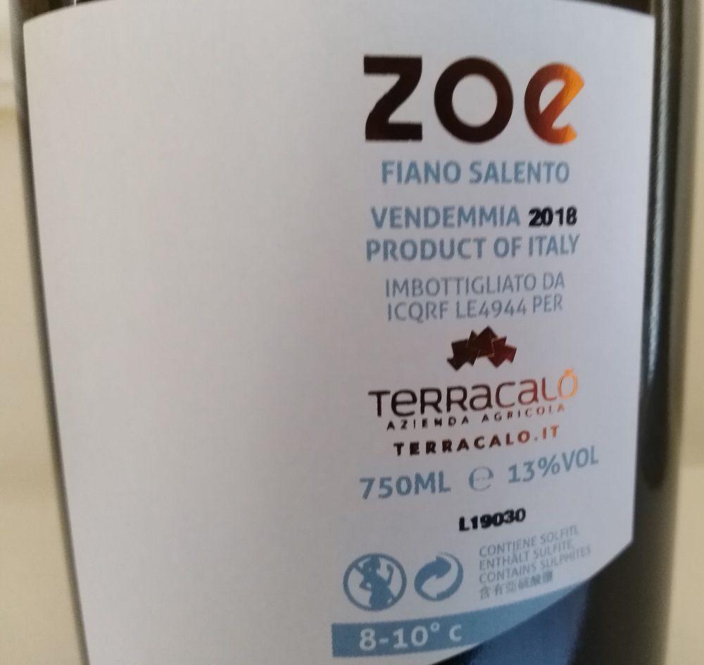 Controetichetta Zoe Fiano Salento 2018 Terracalo'