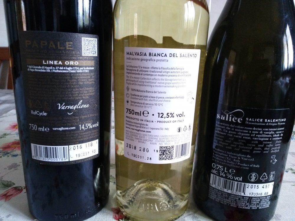 Controetichette vini Varvaglione