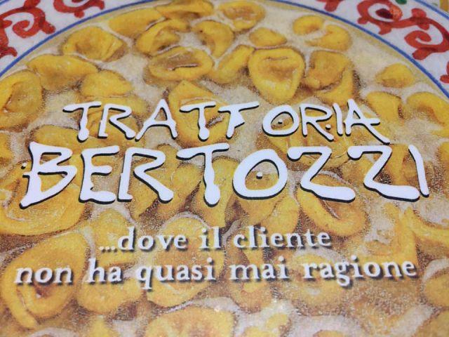 Trattoria Bertozzi, la copertina del menu