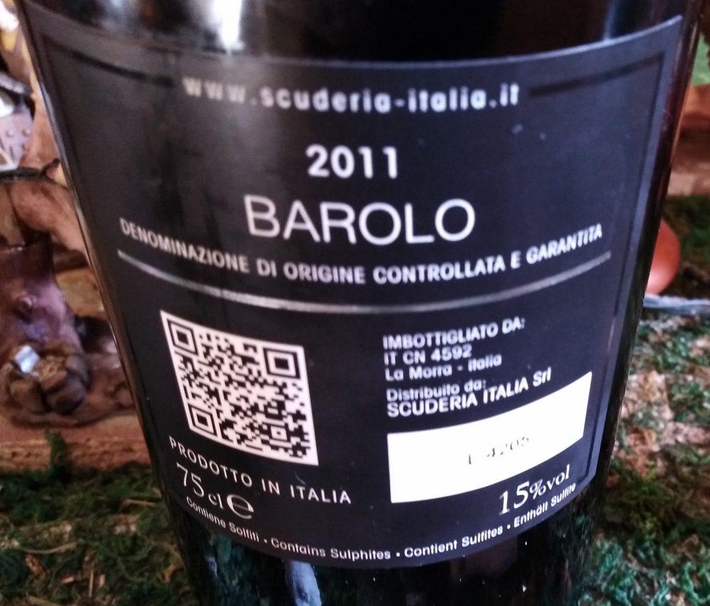 Controetichetta Barolo Docg 2011 Scuderia Italia