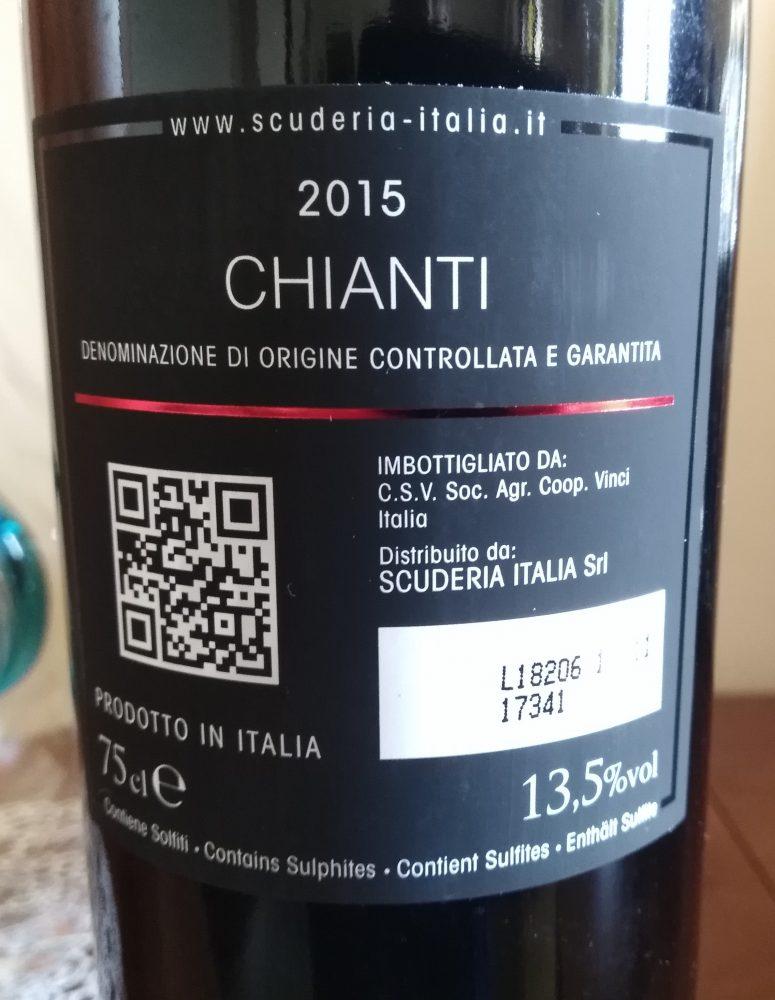 Controetichetta Chianti Docg 2015 Scuderia Italia