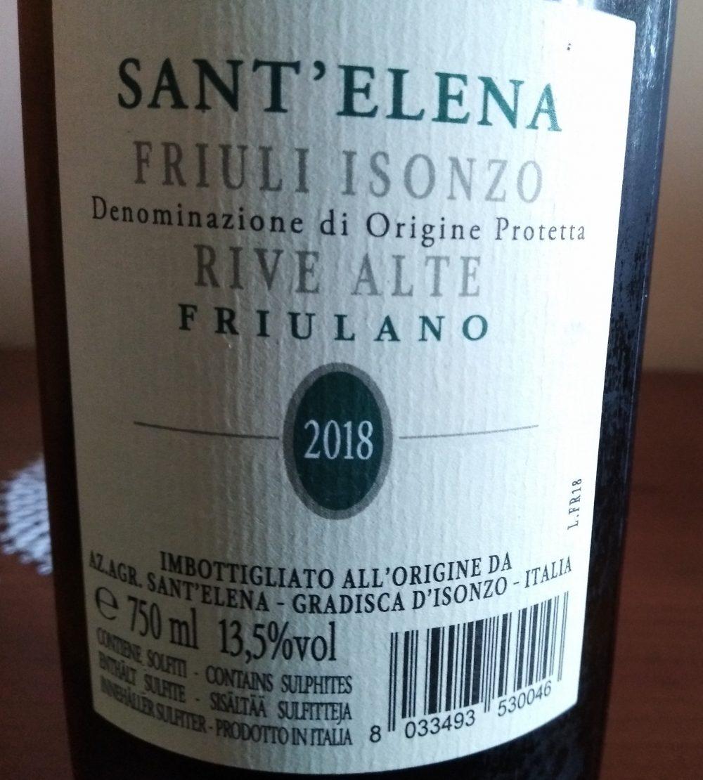 Controetichetta Friulano Friuli Isonzo 2018 Doc Rive Alte Sant'Elena