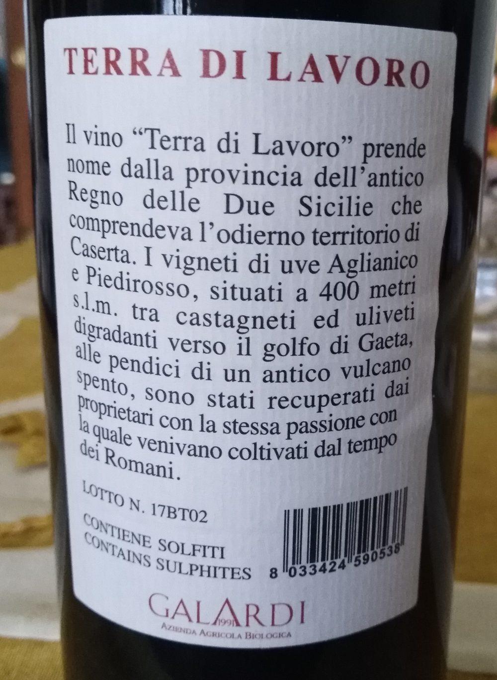 Controetichetta Terra di Lavoro Campania Igp 2017 Galardi