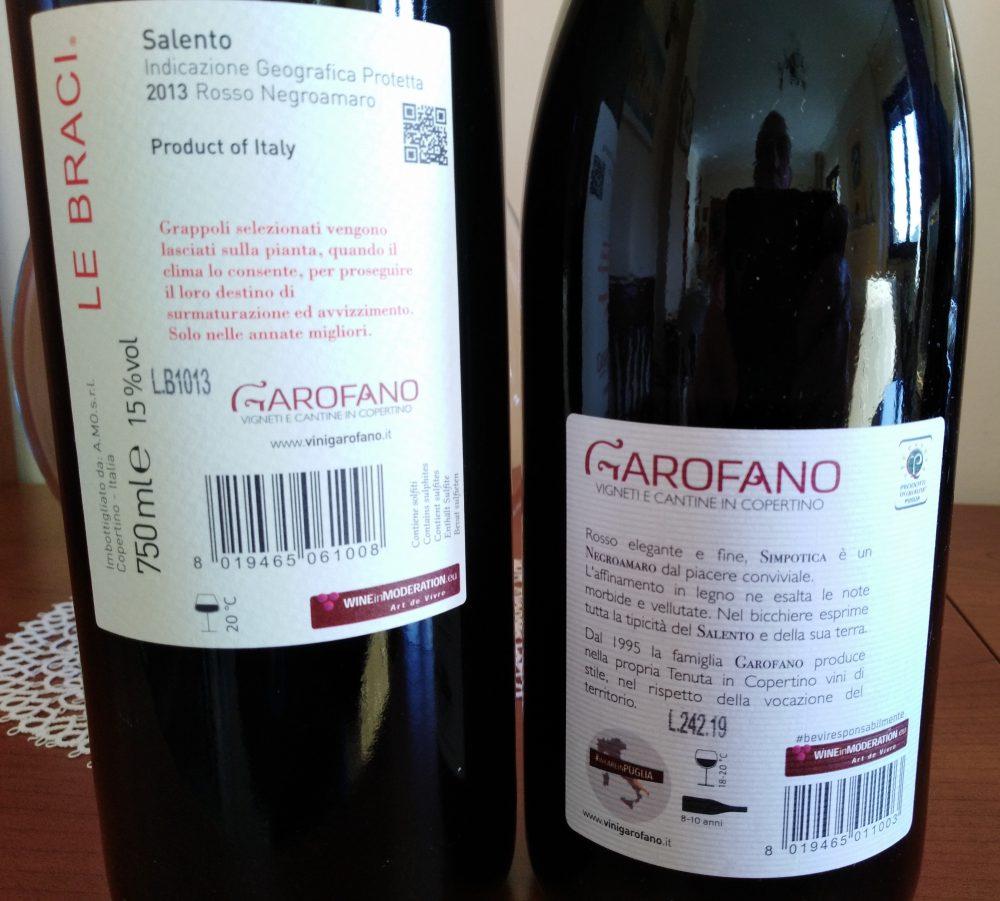Controetichette Vini Garofano Vigneti e Cantine