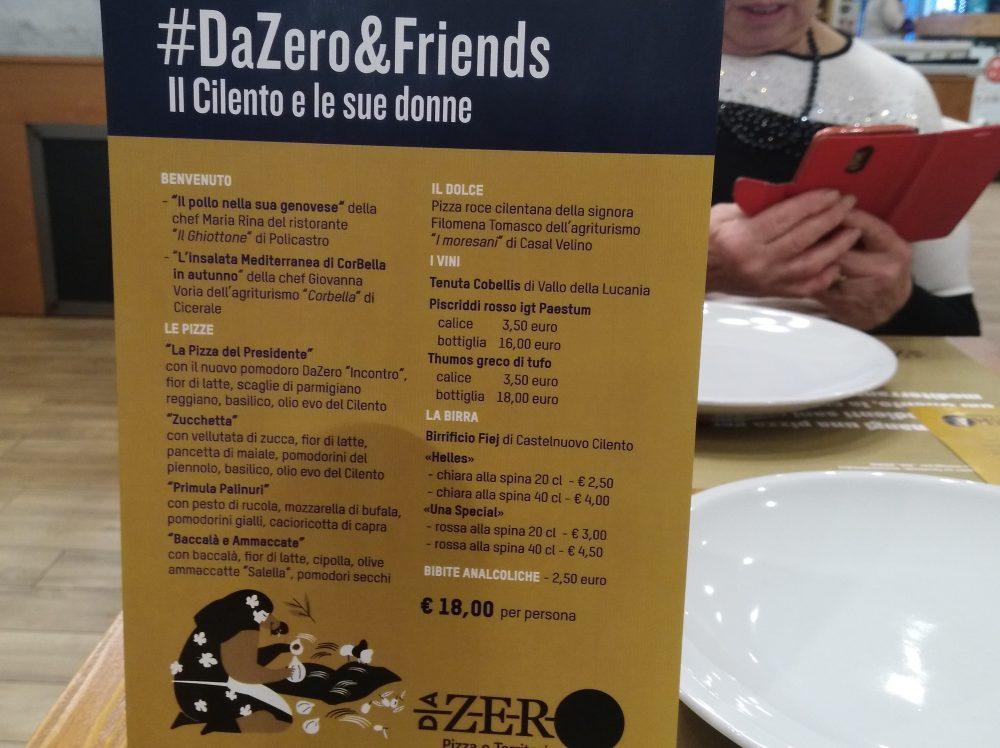 DaZero &Friends Menu' della serata