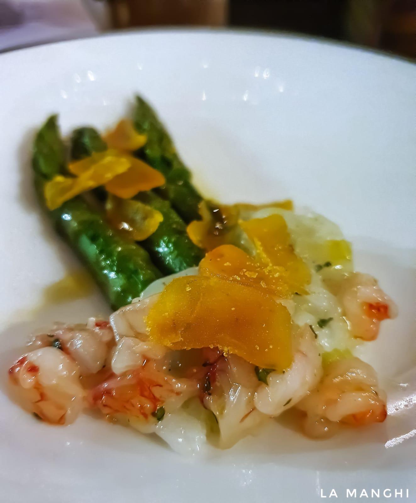 Matrix 3, asparagus, salted pollack roe, calamari