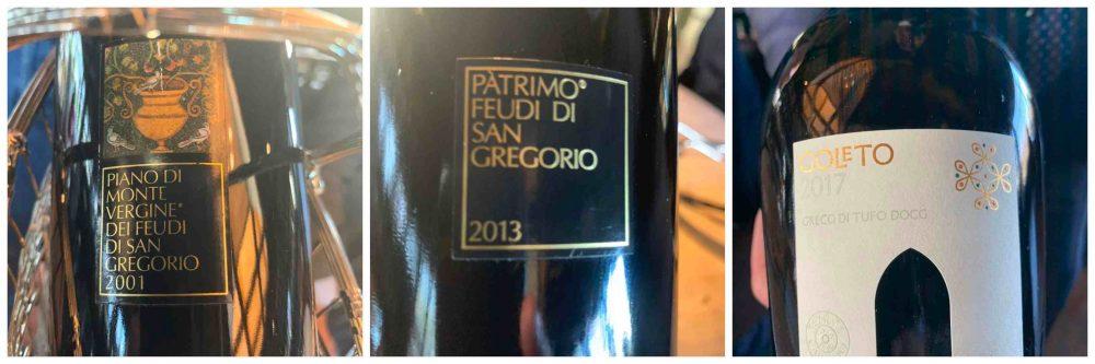 Ristorante Marenna' dei Feudi di San Gregorio, i vini