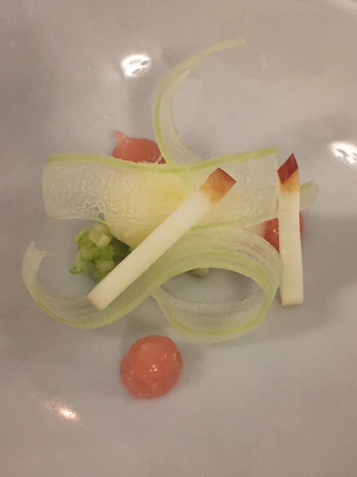 Ristorante Garo', pre dessert al sedano, mela e agrumi