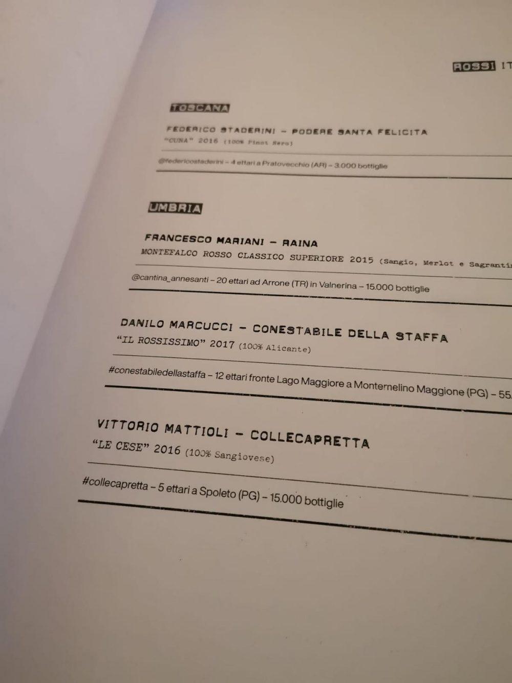 Vineria Bandita, menu'