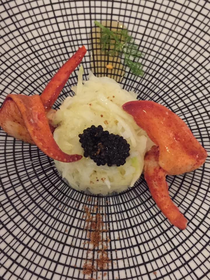 Ristorante Garo', finocchi con astice blu, caviale, miele e bottarga