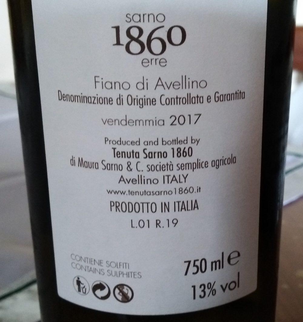 Controetichetta 1860 Fiano di Avellino Docg 2017 Tenuita Sarno 1860 erre
