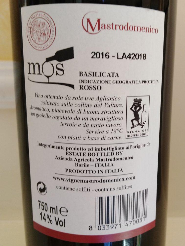 Controetichetta Mos Basilicata Rosso Igp 2016 Mastrodomenico