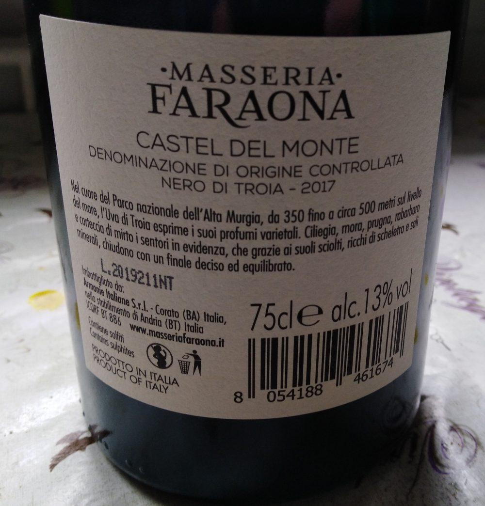 Controetichetta Nero di Troia Castel del Monte Doc 2017 Masseria Faraona