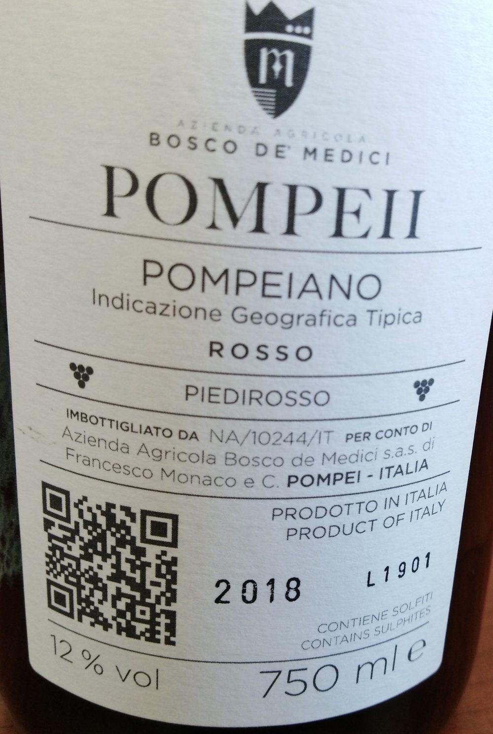 Controetichetta Pompeii Pompeiano Rosso Pieditrosso Igt 2018 Bosco De' Medici