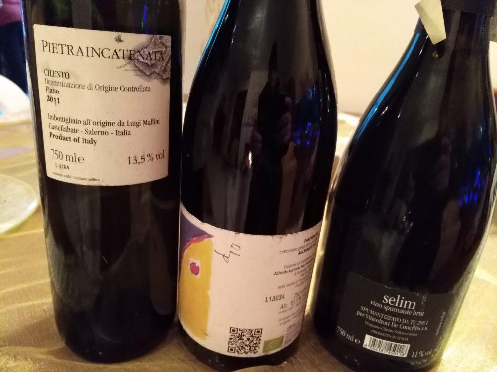 Controetichette di tre vini cilentani