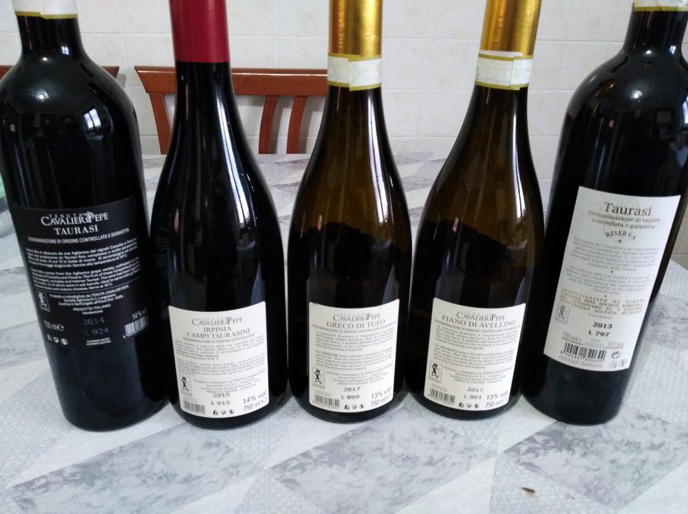 Controetichette vini Tenuta Cavalier Pepe