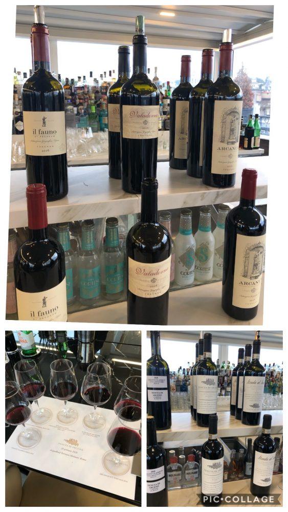 Gamma in degustazione di Tenuta di Arceno tre etichette DOCG e tre Super Tuscan