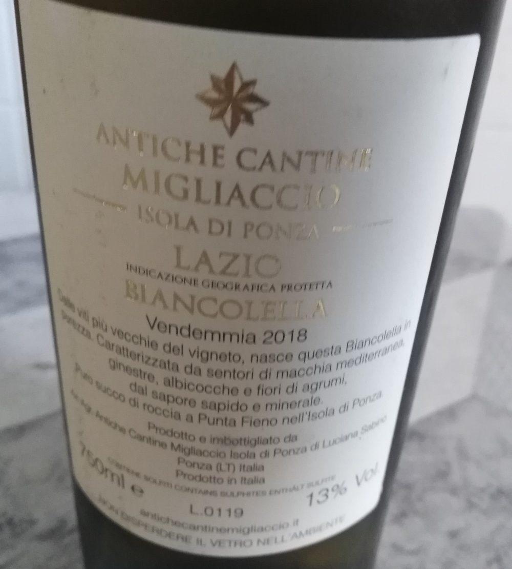 Controetichetta Biancolella Lazio Igp 2018 Migliaccio