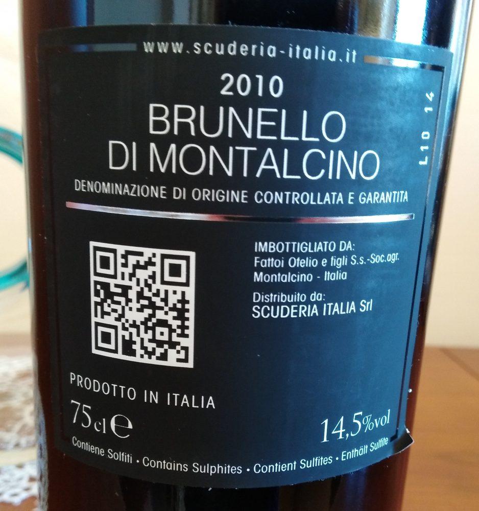 Controetichetta Brunello di Montalcino Docg 2010 Scuderia Italia