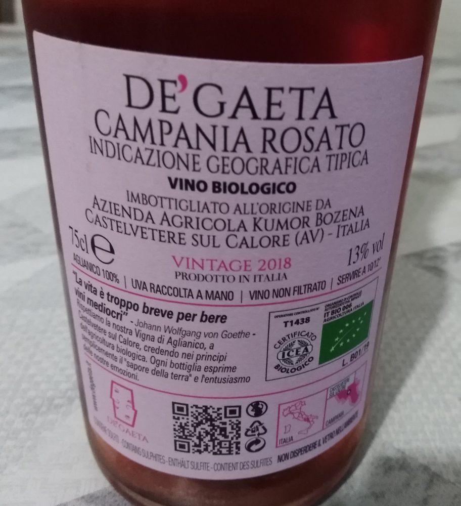 Controetichetta Campania Rosato Igt 2018 Dè Gaeta