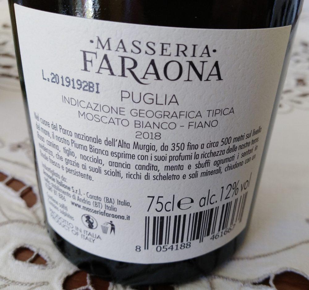 Controetichetta Piuma Bianca Moscato Bianco-Fiano Puglia Igt 2018 Masseria Faraona