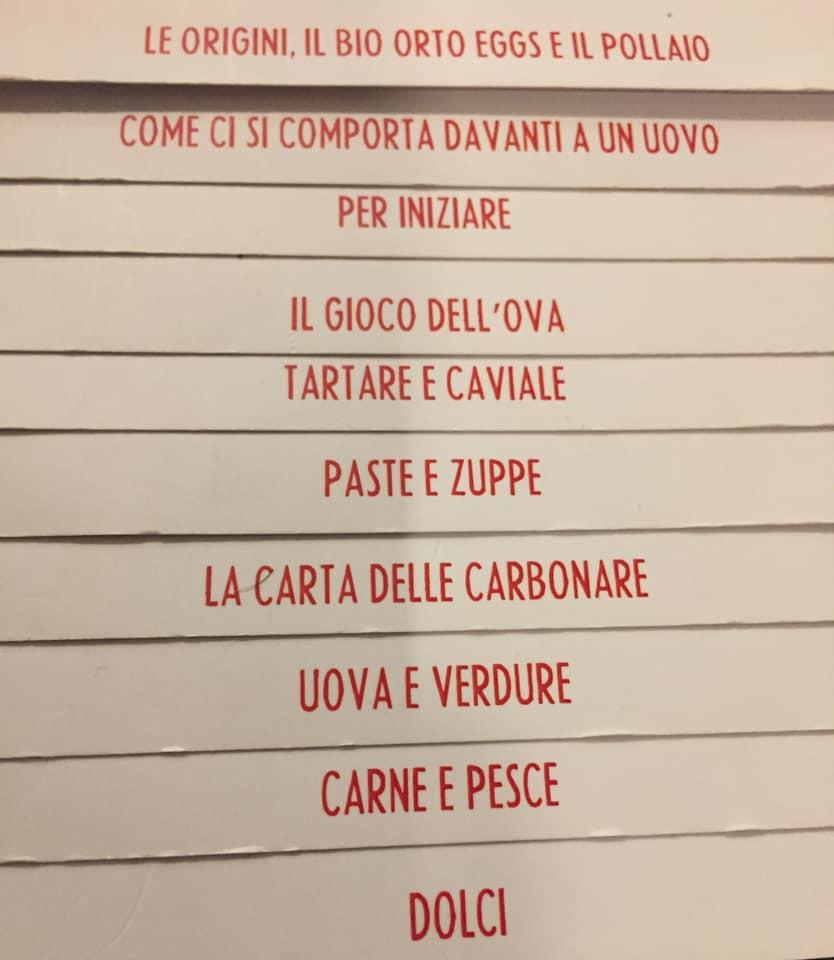Eggs a Roma, il menu a tendina