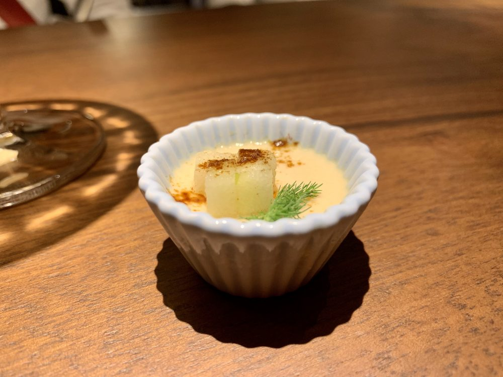 Hyle - Crema catalana ai porcini, mela, liquirizia e farro soffiato