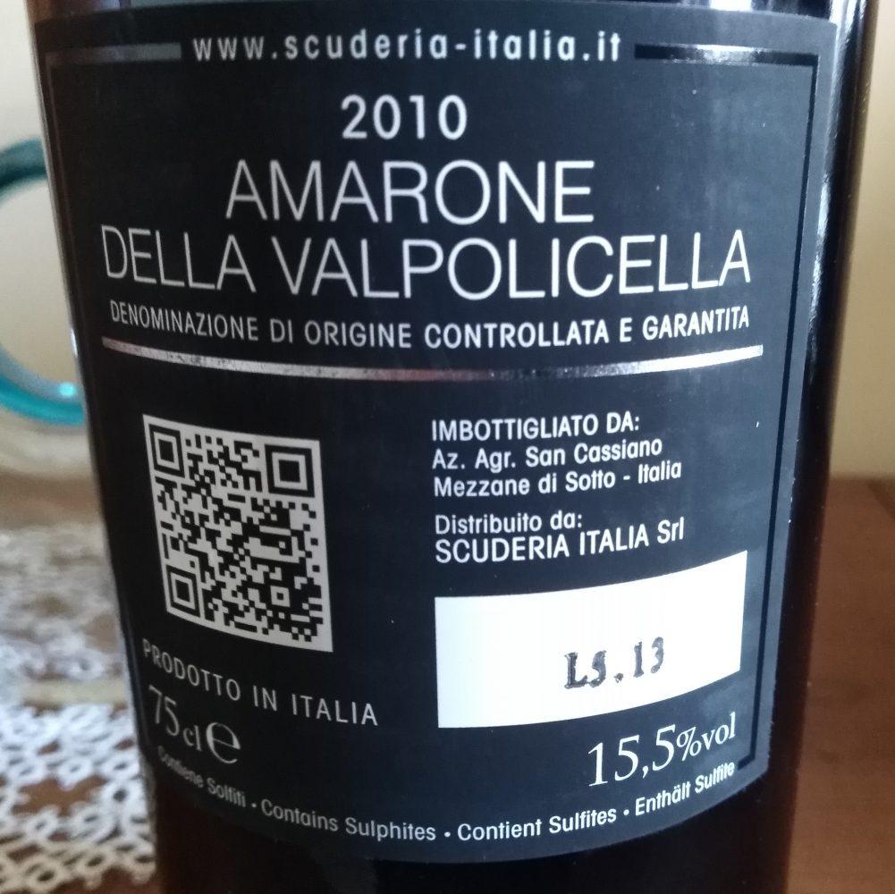 Controetichetta Amarone della Valpolicella Docg 2010 Scuderia Italia