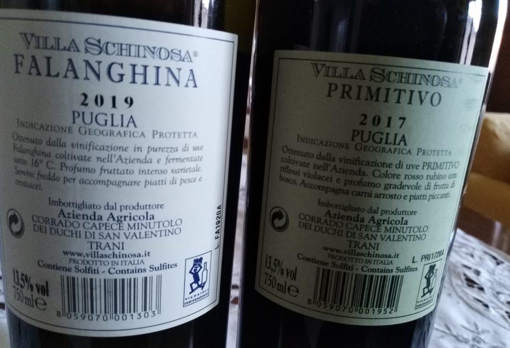 Controetichette vini Villa Schinosa