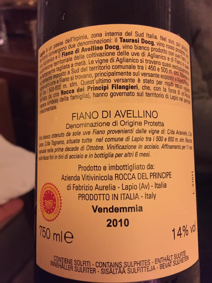 Fiano di Avellino 2010 Rocca del Principe