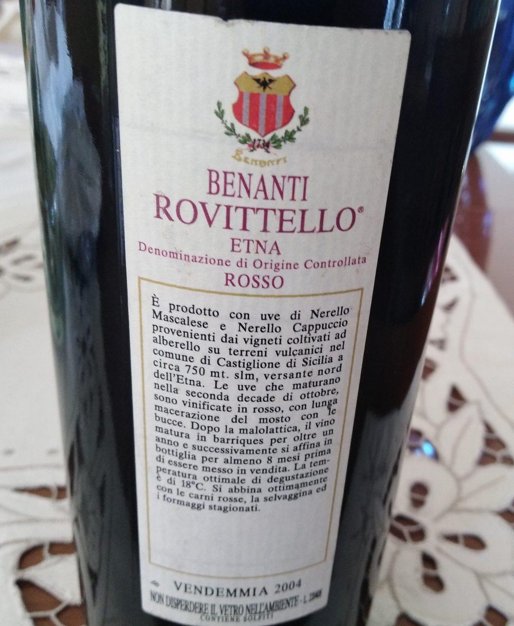 Controetichetta Rovittello Etna Rosso Doc 2004