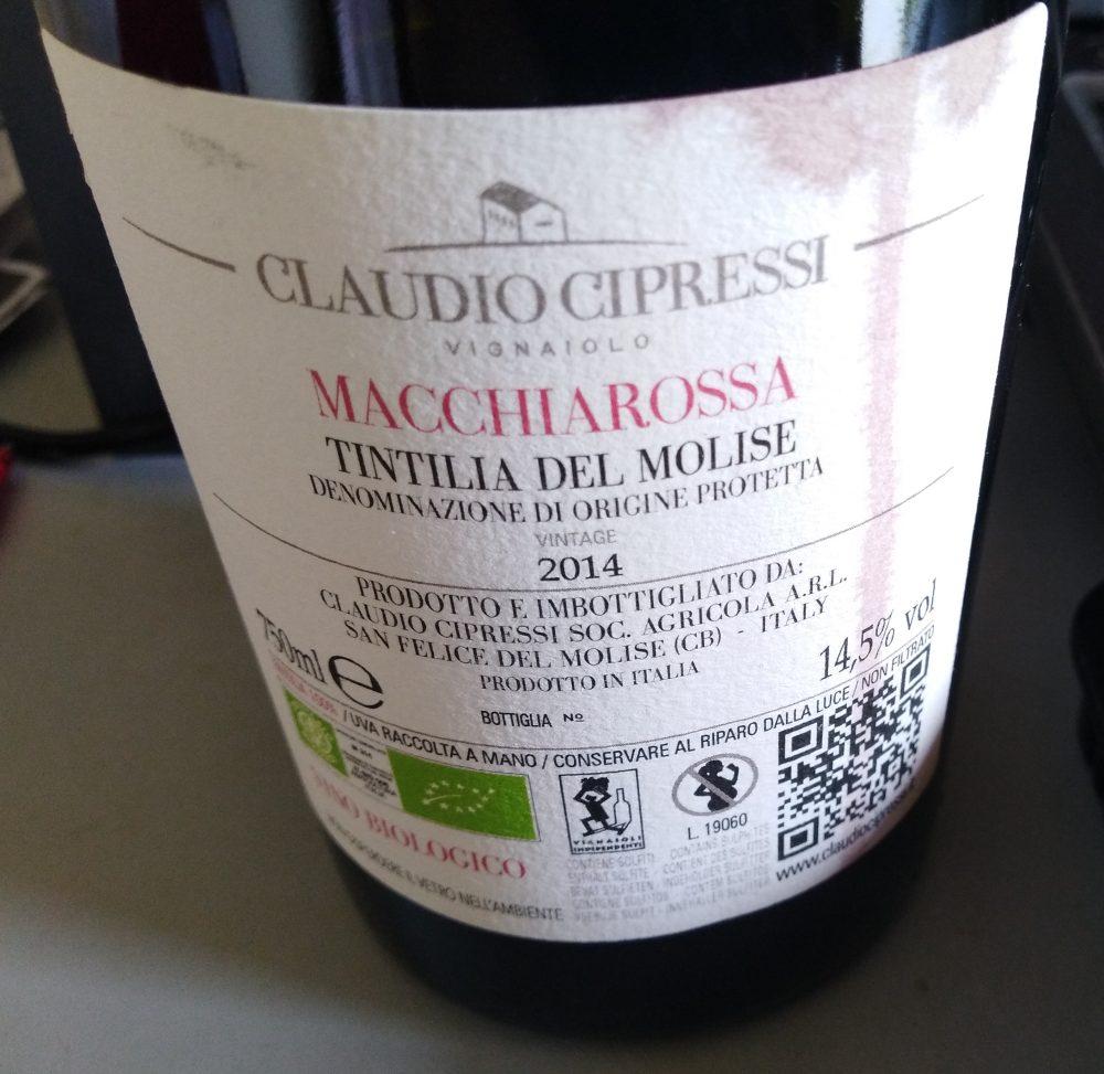 Controetichette Macchiarossa Tintilia del Molise Dod 2014 Claudio Cipressi