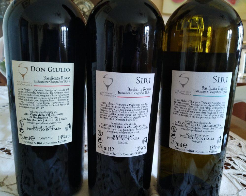 Controetichette vini Alte Vigne della Val Camastra