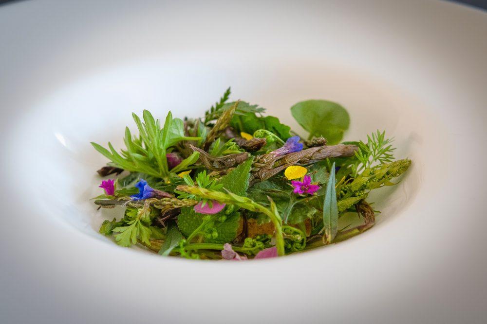 Creme Brulee di porri, asparagi, luppolo, erbe e fiori