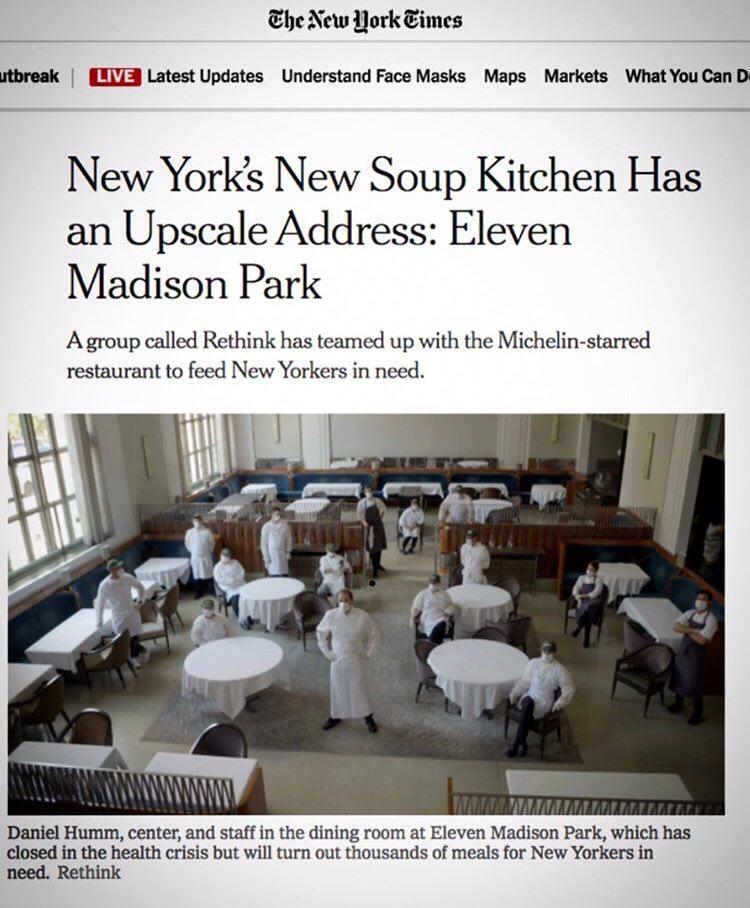 L'iniziativa di Daniel Humm sul New York Times