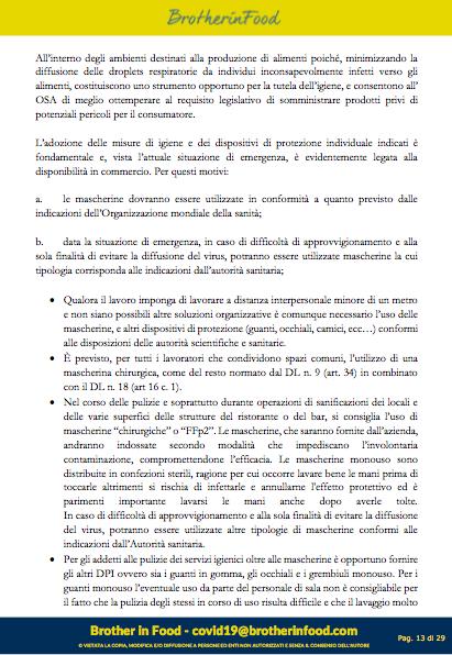 13 Protocollo Ristorazione Covid