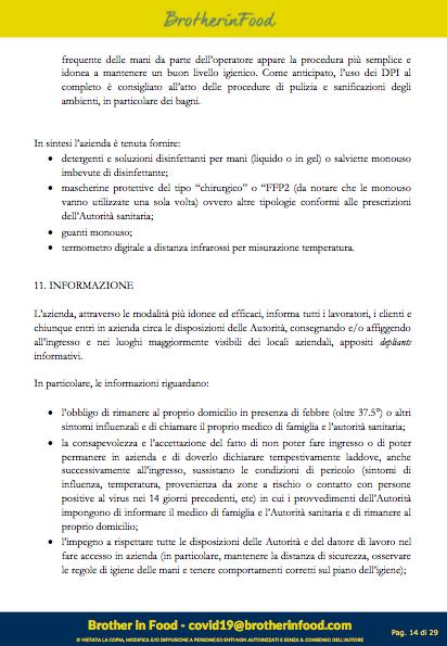 14 Protocollo Ristorazione Covid