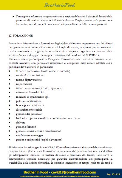 15 Protocollo Ristorazione Covid