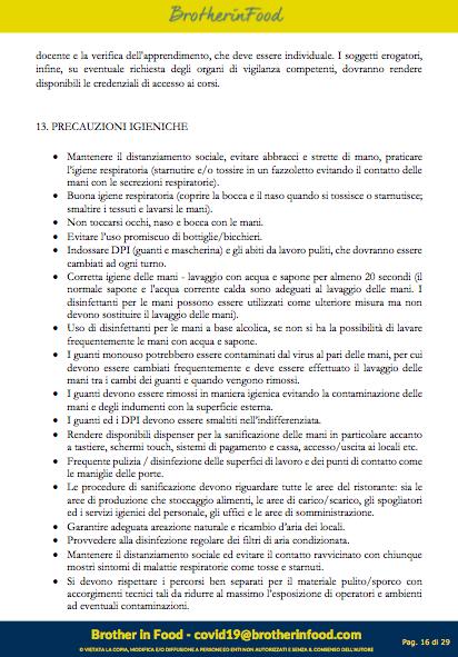 16 Protocollo Ristorazione Covid