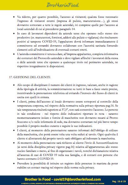 19 Protocollo Ristorazione Covid