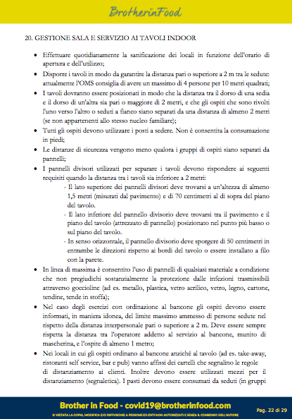 22 Protocollo Ristorazione Covid
