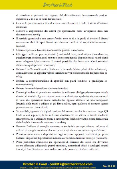 23 Protocollo Ristorazione Covid