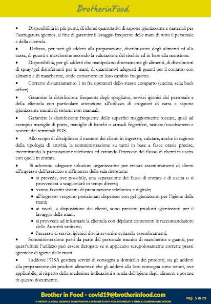 5 Protocollo Ristorazione Covid