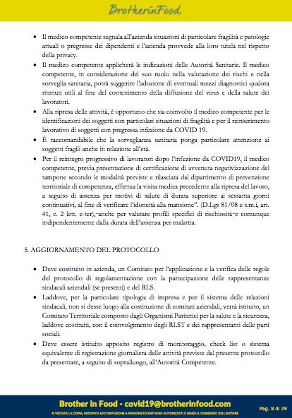 8 Protocollo Ristorazione Covid