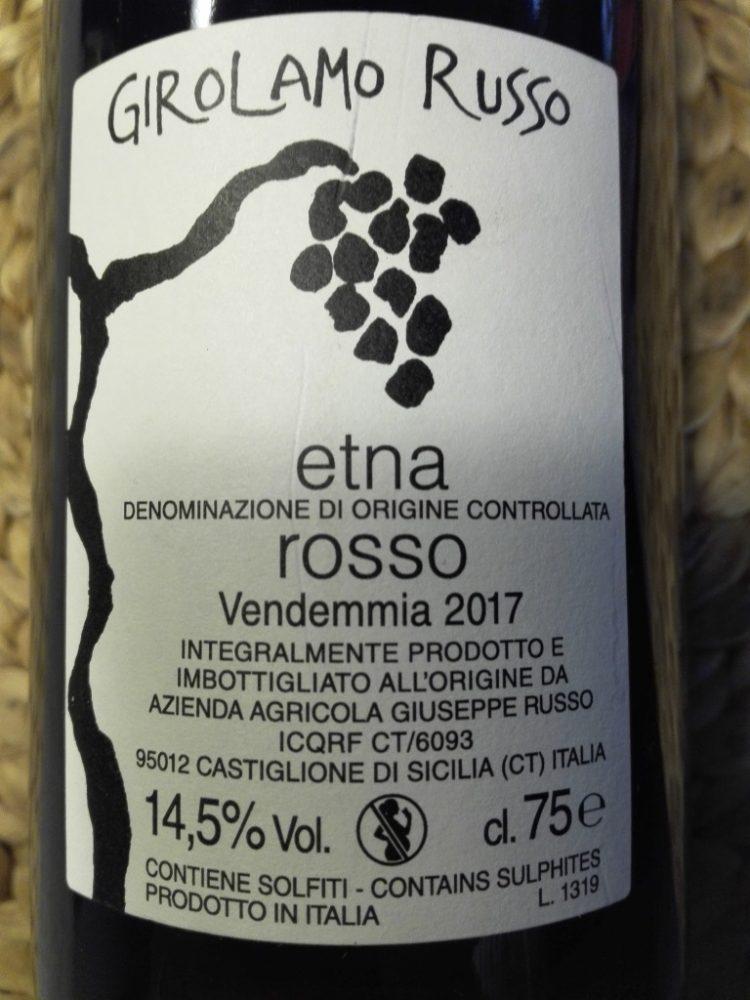 'A Rina 2017 Etna rosso doc Girolamo Russo