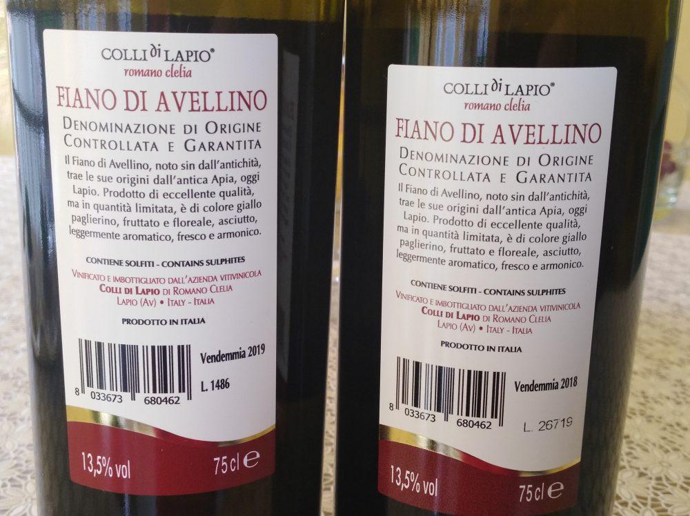 Controetichette Colli di Lapio Fiano di Avellino Docg 2018 e 2019 Clelia Romano