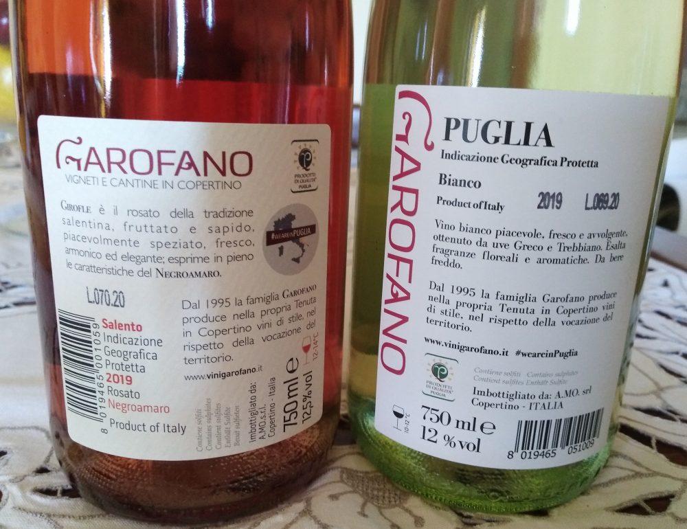 Controetichette vini Garofano