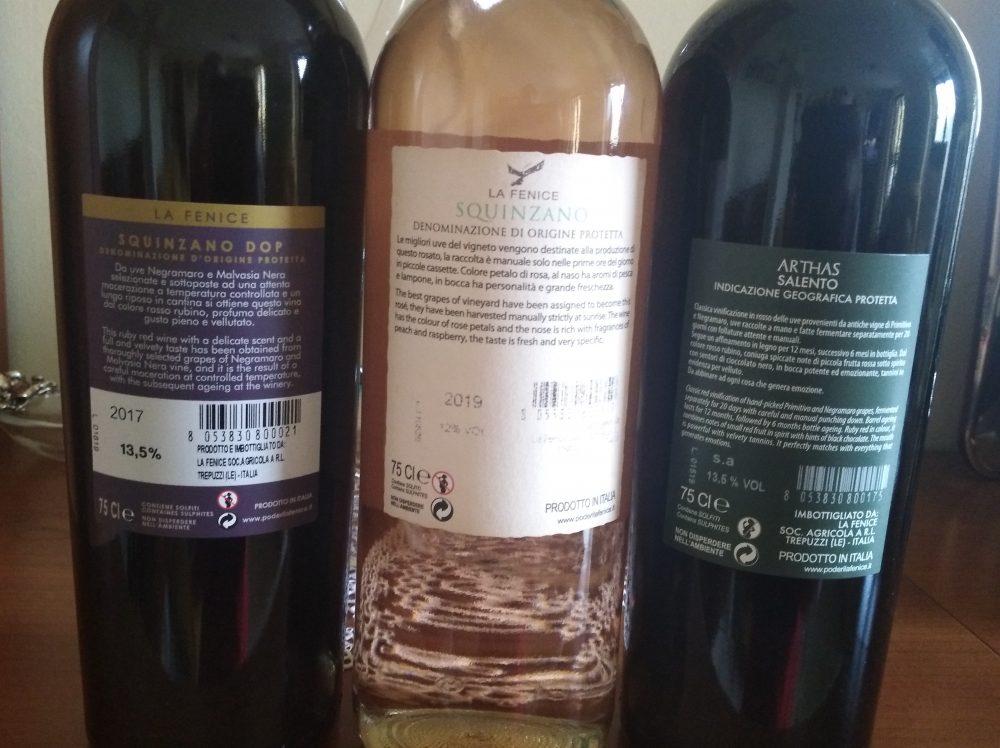 Controetichette vini La Fenice